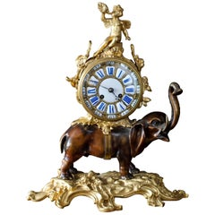 French Bronze Elephant Mantel Clock