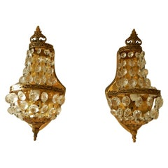 French Bronze Empire Style Crystal Sconces, 1930s