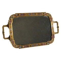 French Bronze Enamel Champlevé Vanity Tray