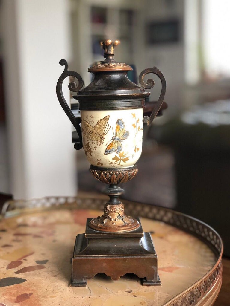 Hand-Carved French Bronze Enamel Porcelain Hand Painted Urn Marble Cassoulet For Sale