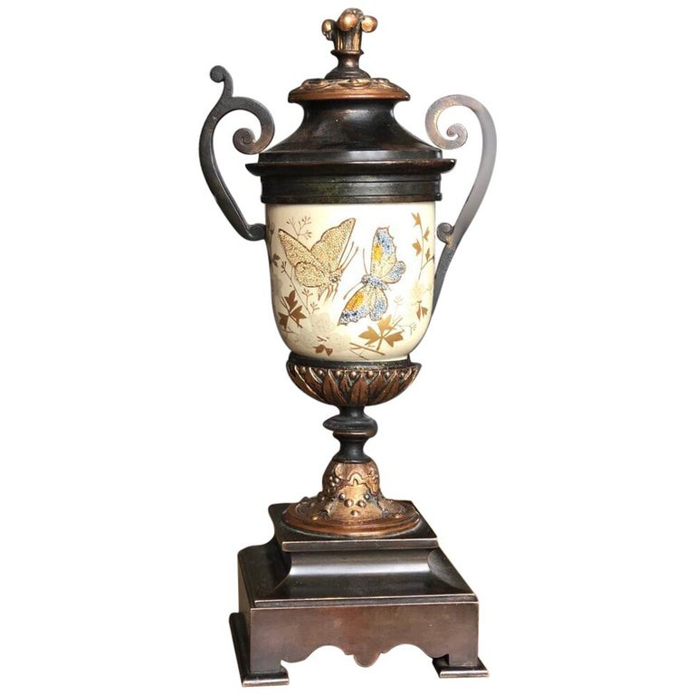 French Bronze Enamel Porcelain Hand Painted Urn Marble Cassoulet For Sale 2