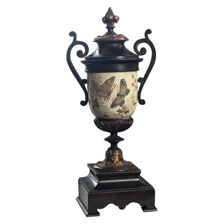 French Bronze Enamel Porcelain Hand Painted Urn Marble Cassoulet For Sale