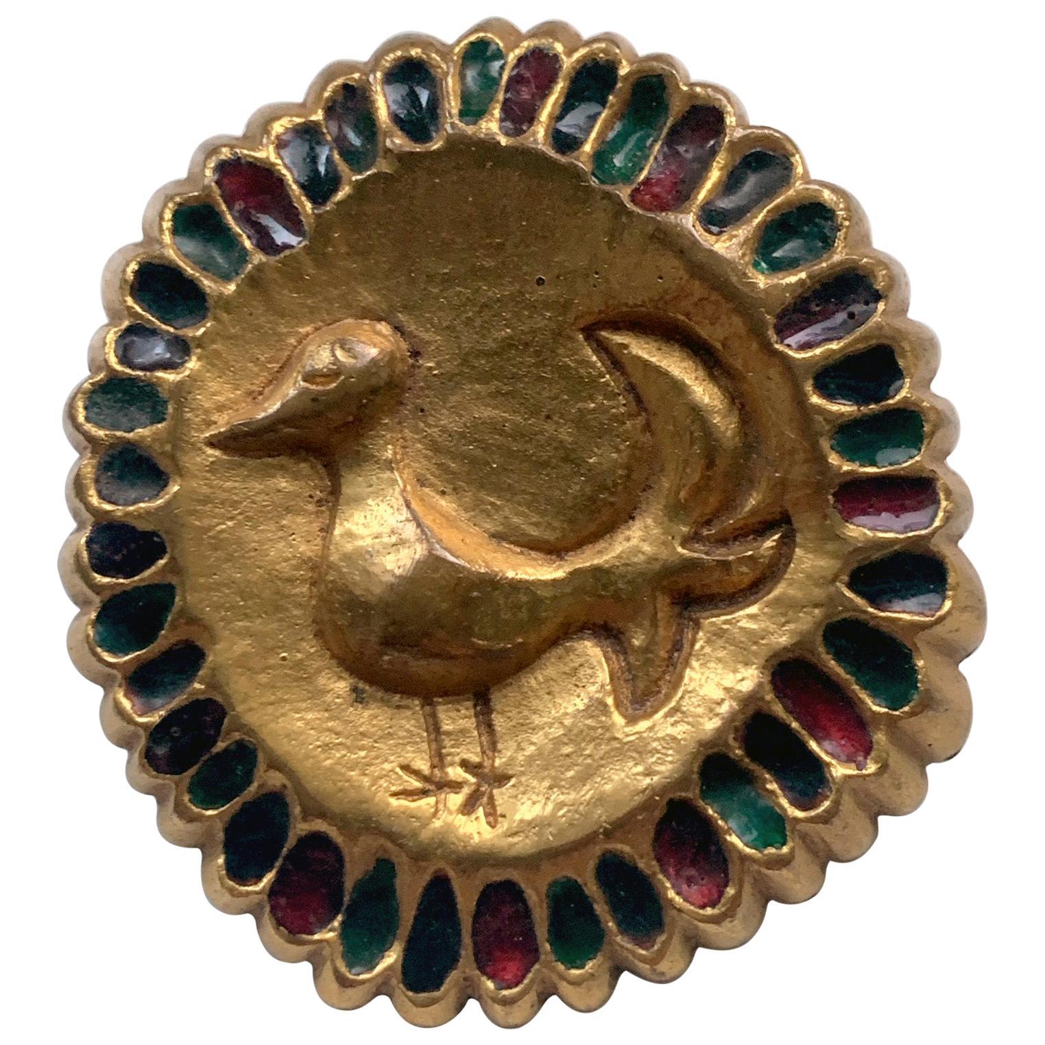 French Bronze Enameled Brooch Line Vautrin