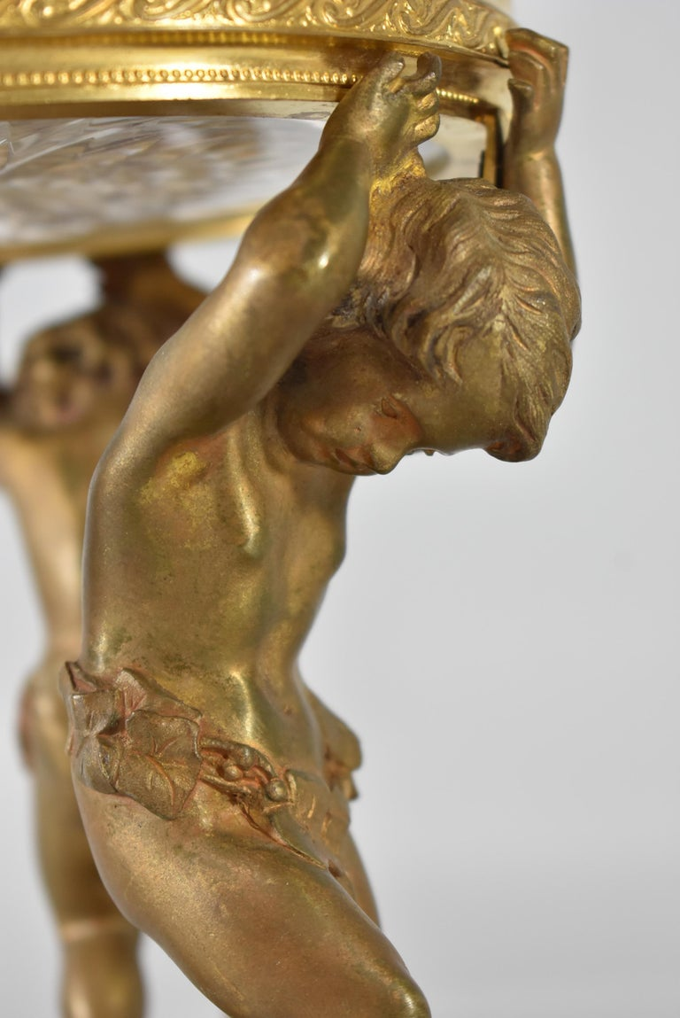Baroque French Bronze Figural  Cherub Centerpiece with Cut Glass Bowl For Sale