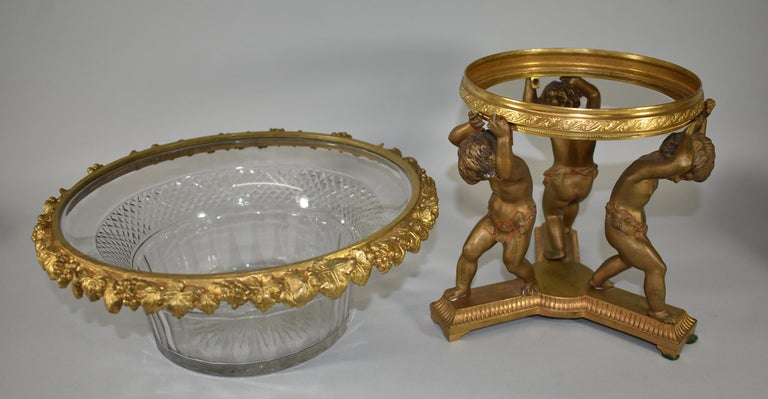 19th Century French Bronze Figural  Cherub Centerpiece with Cut Glass Bowl For Sale