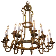 French Bronze Figural & Foliage Two-Tiered Sixteen Light Chandelier, Circa 1830