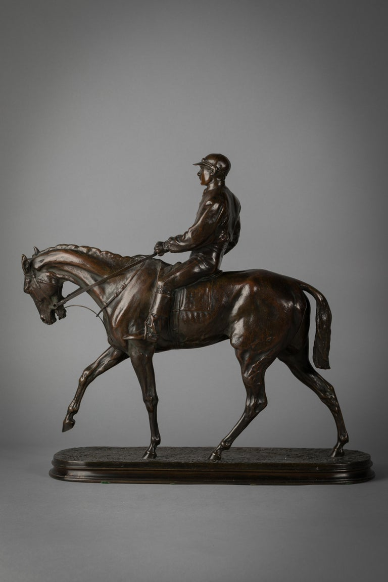 French bronze figure of a horse and jockey by P.J. Mene. Foundry: Susse Frere and Co.