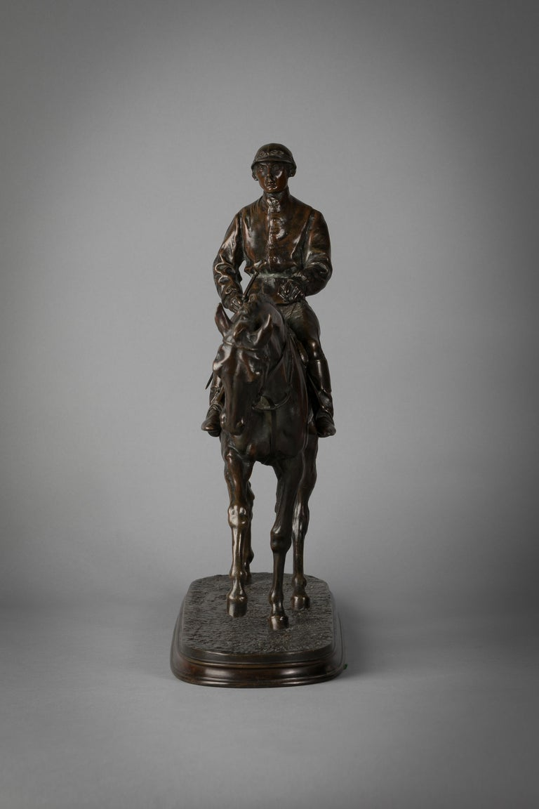 French Bronze Figure of a Horse and Jockey by P.J. Mene In Excellent Condition For Sale In New York, NY