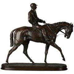 French Bronze Figure of a Horse and Jockey by P.J. Mene