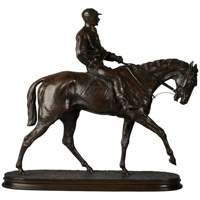French Bronze Figure of a Horse and Jockey by P.J. Mene For Sale