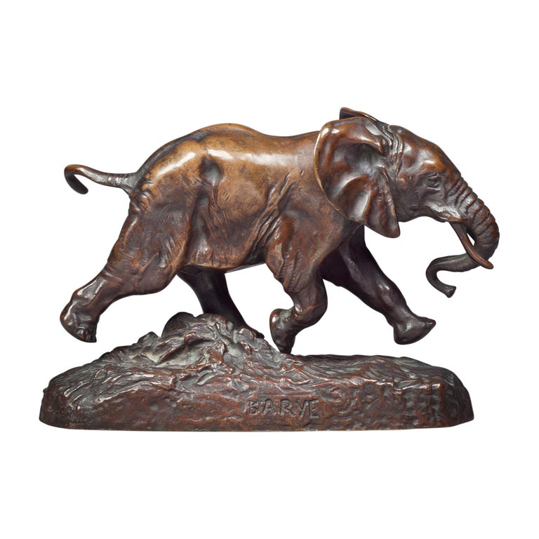 French Bronze Figure of an Elephant by Antoine Louis Barye For Sale