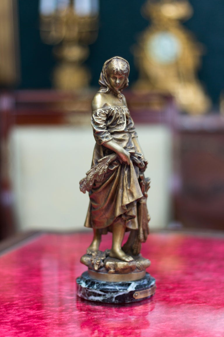 "French Bronze Figure ""Retour des Champs"" by Eutrope Bouret 14"