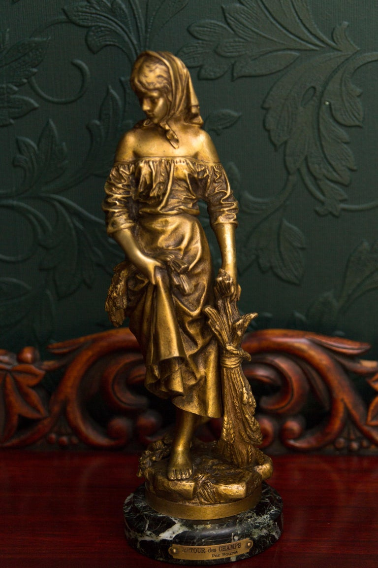 "French Bronze Figure ""Retour des Champs"" by Eutrope Bouret 18"
