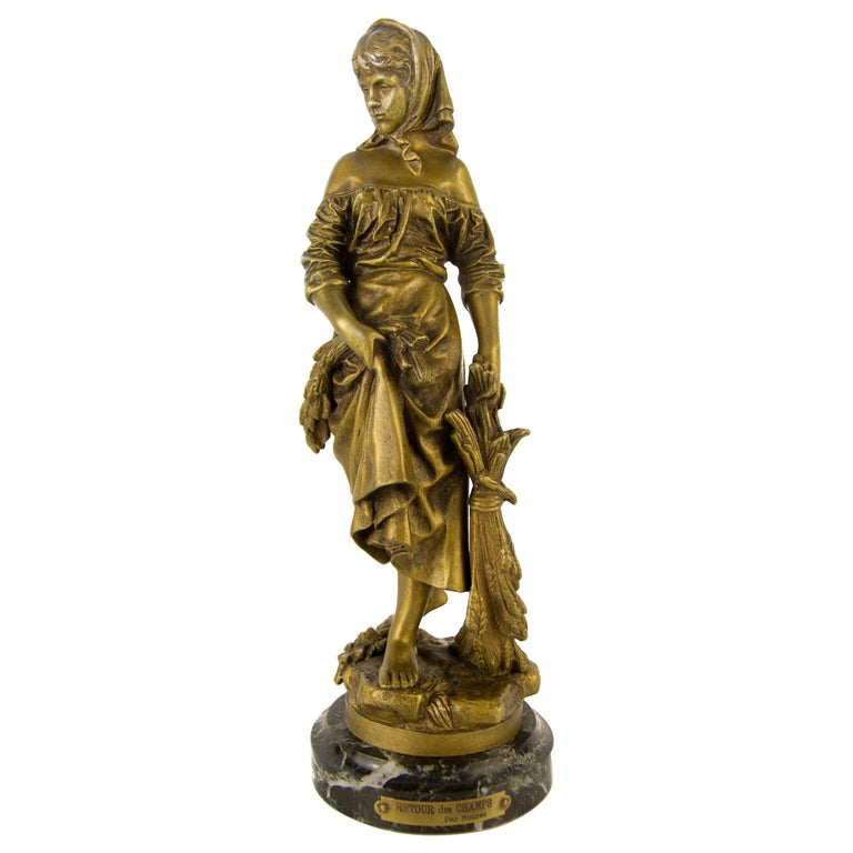 "French Bronze Figure ""Retour des Champs"" by Eutrope Bouret For Sale"