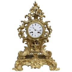 French Bronze Gilt Rococo Style Mantel Clock by Vincenti