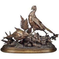 French Bronze Group of 'Pheasants' by Paul-Edouard Delabrierre