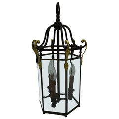 French Bronze Hall Lantern with Beveled Panes, Electrical, circa 1930