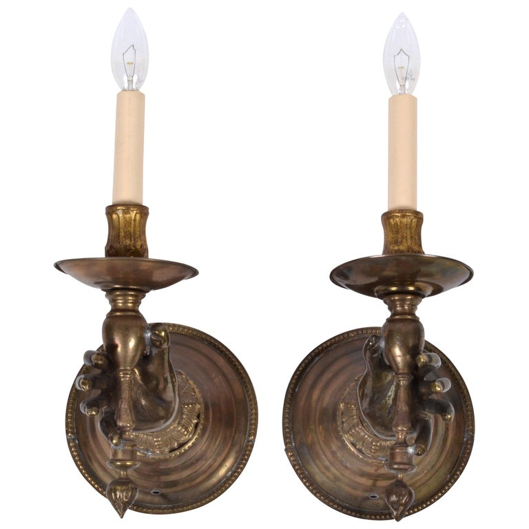 French Bronze Hand Wall Sconces, a Pair