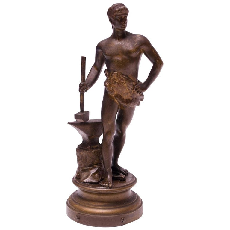 "French Bronze ""Hephaestus"" Blacksmith Sculpture by Maurice Constant For Sale"