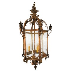 French Bronze Hexagonal Hall Lantern