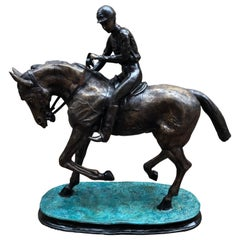 French Bronze Horse and Jockey Statue Bronze, 20th Century