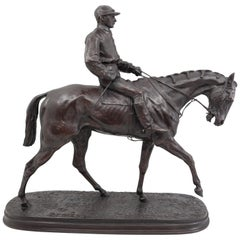 French Bronze Jockey on Horse by Pierre Jules Mêne