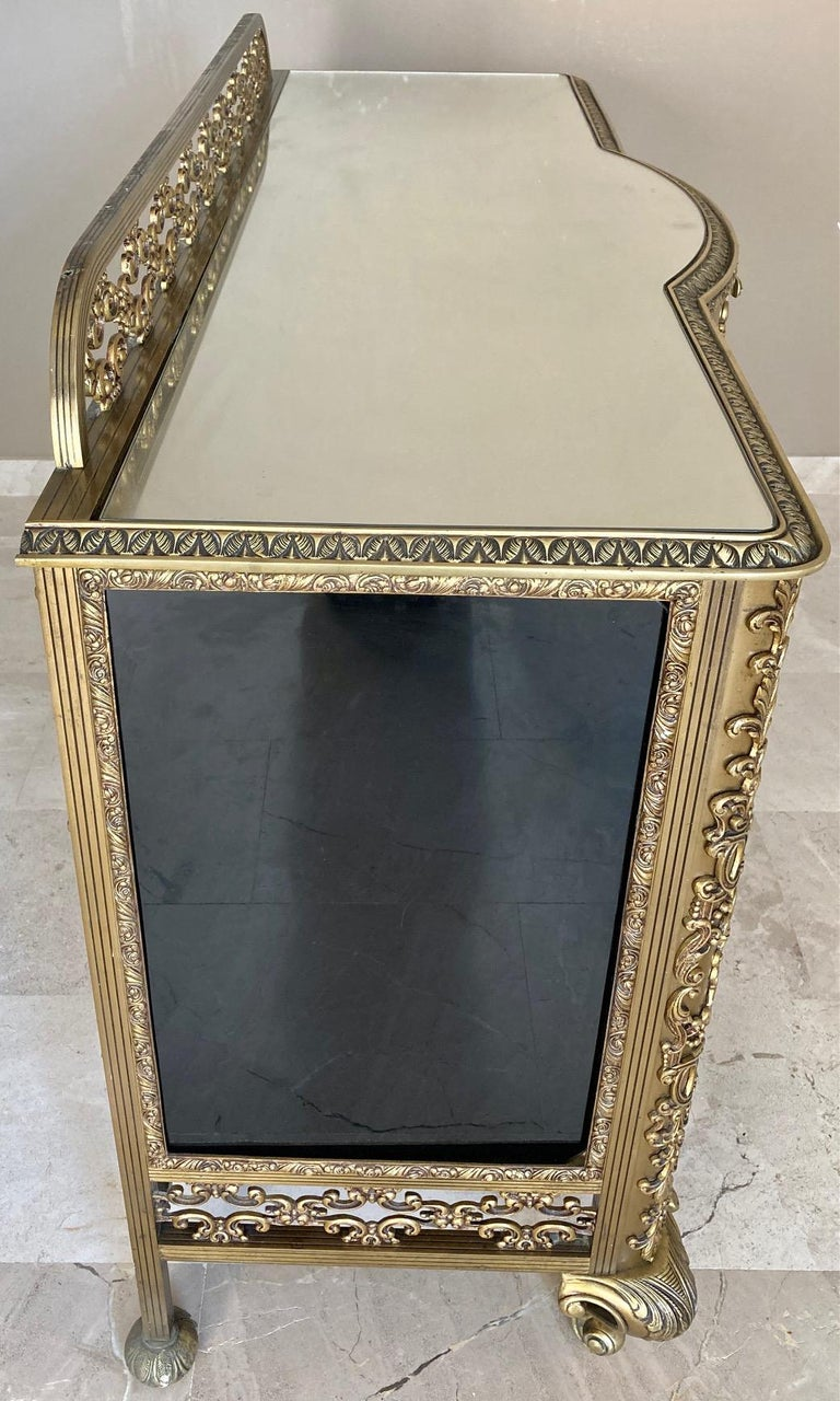 French Bronze Kidney Mirrored Dressing Table or Vanity with Four Drawers and Two For Sale 5