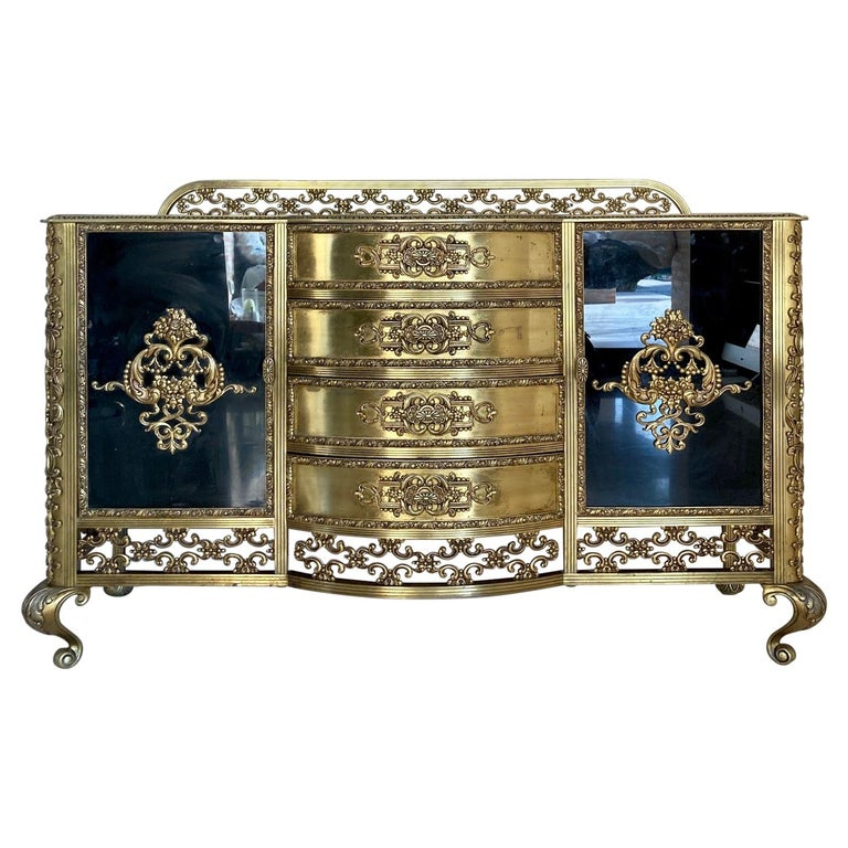 French Bronze Kidney Mirrored Dressing Table or Vanity with Four Drawers and Two For Sale