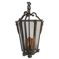 French Bronze Louis XVI Style Hanging Lantern, circa 1950