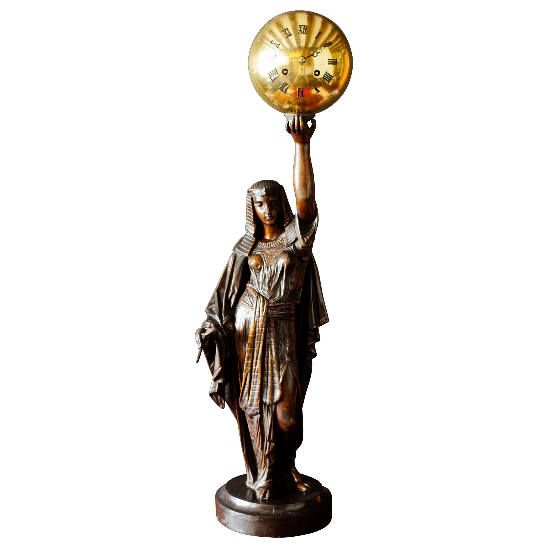 French Bronze Mantel Clock Depicting Aurora