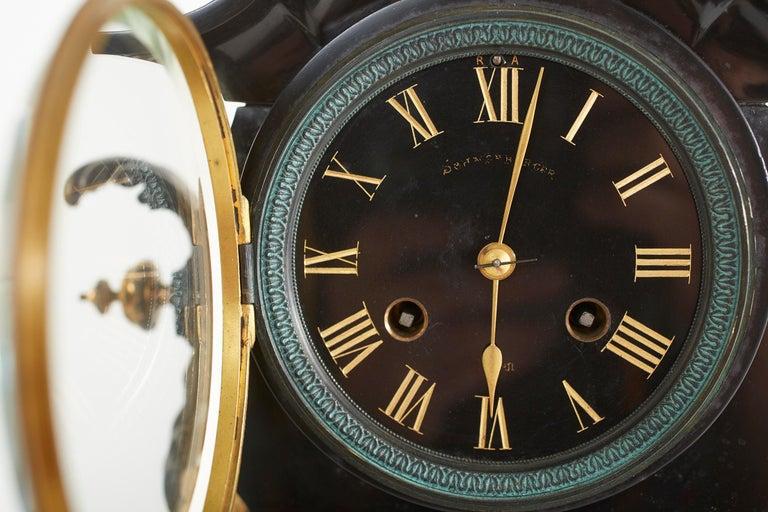 French Bronze / Marble Three Piece Clock Garniture Set For Sale 6