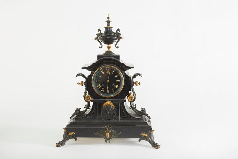 French Bronze / Marble Three Piece Clock Garniture Set For Sale 8