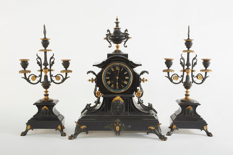 French Bronze / Marble Three Piece Clock Garniture Set For Sale 9