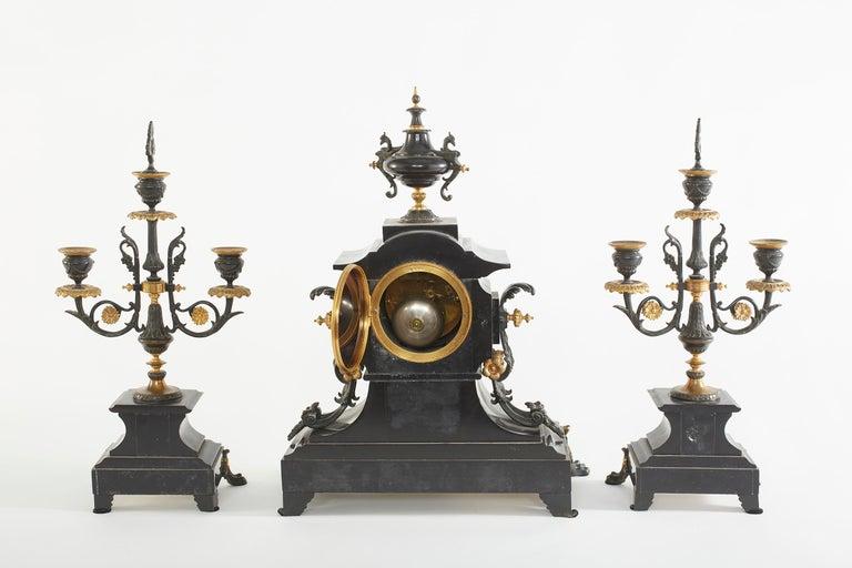 Gilt French Bronze / Marble Three Piece Clock Garniture Set For Sale