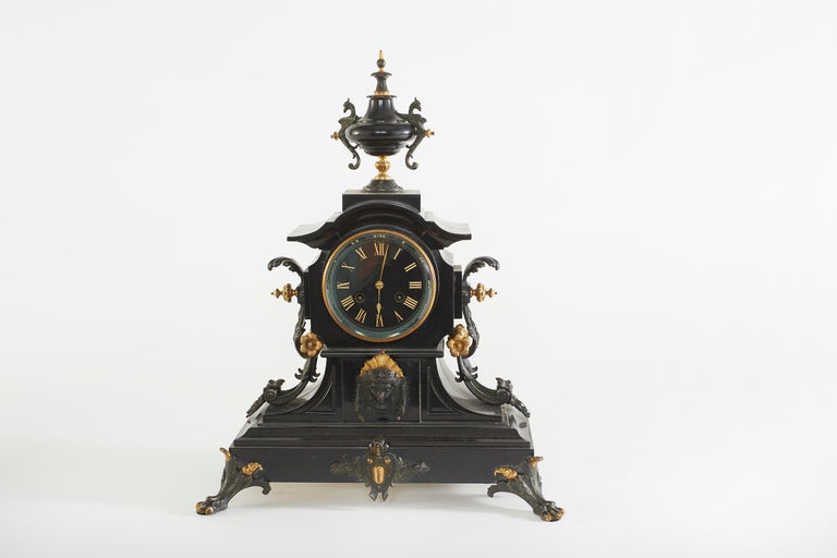 French Bronze / Marble Three Piece Clock Garniture Set In Good Condition For Sale In Hudson, NY