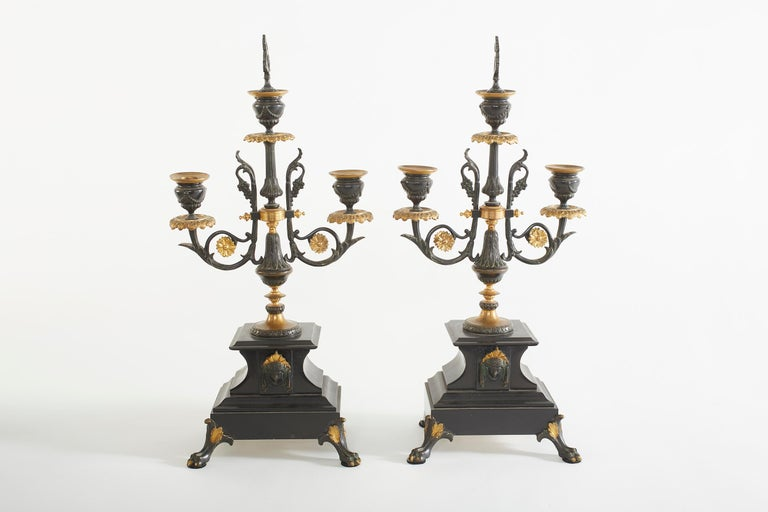 Late 19th Century French Bronze / Marble Three Piece Clock Garniture Set For Sale