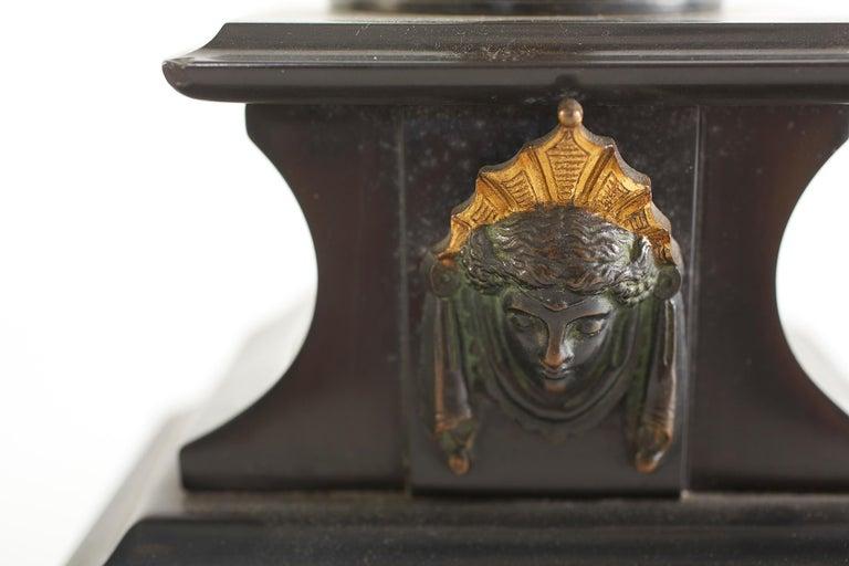 French Bronze / Marble Three Piece Clock Garniture Set For Sale 1