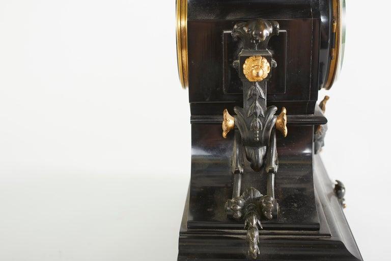French Bronze / Marble Three Piece Clock Garniture Set For Sale 3