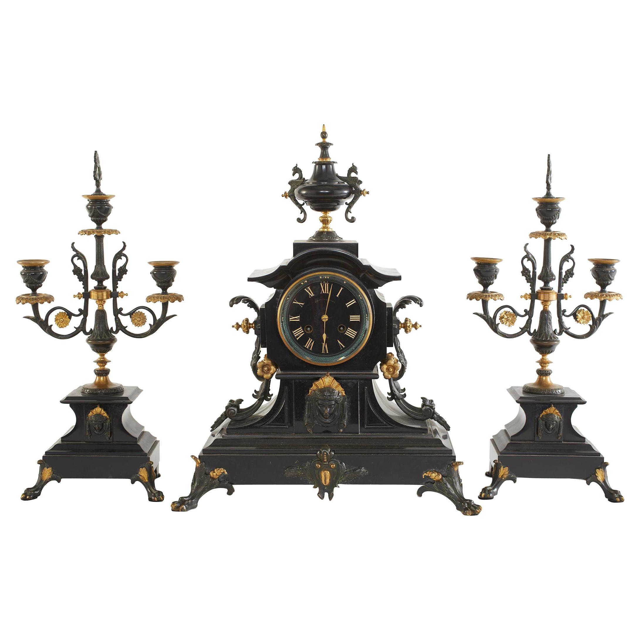 French Bronze / Marble Three Piece Clock Garniture Set