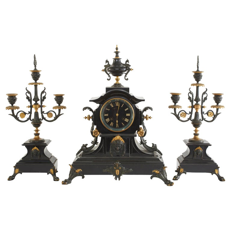 French Bronze / Marble Three Piece Clock Garniture Set For Sale