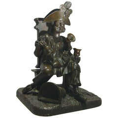 French Bronze Match Strike in the Form of an Old Soldier as a Water Seller