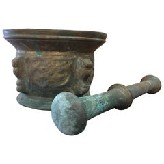 French Bronze Mortar and Pestle, Original Patina, Early 19th Century