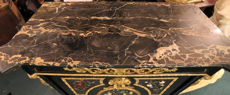 French Bronze-Mounted Ebonized and Pietra Dura Marble-Top Cabinet For Sale 7