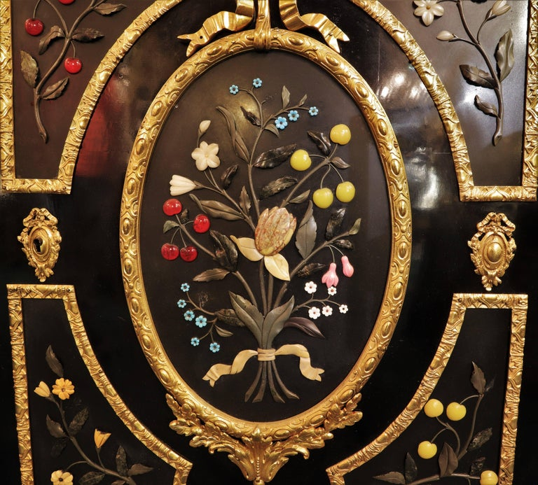 French Bronze-Mounted Ebonized and Pietra Dura Marble-Top Cabinet For Sale 2
