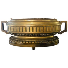 French Bronze Neoclassical Style Urn Flower Pot or Jardiniere with Handles