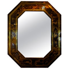 French Bronze Octagonal Tortoise Shell Pattern Mirror Attributed to Jansen