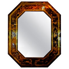 French Bronze Octagonal Tortoise Shell Pattern Mirror Attributed to Jansen
