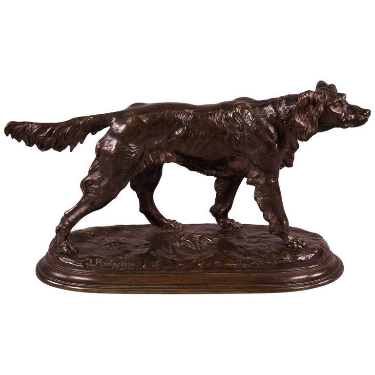 Bronze sculpture of a setter, late 19th century, by Jules Moigniez, offered by Seidenberg Antiques