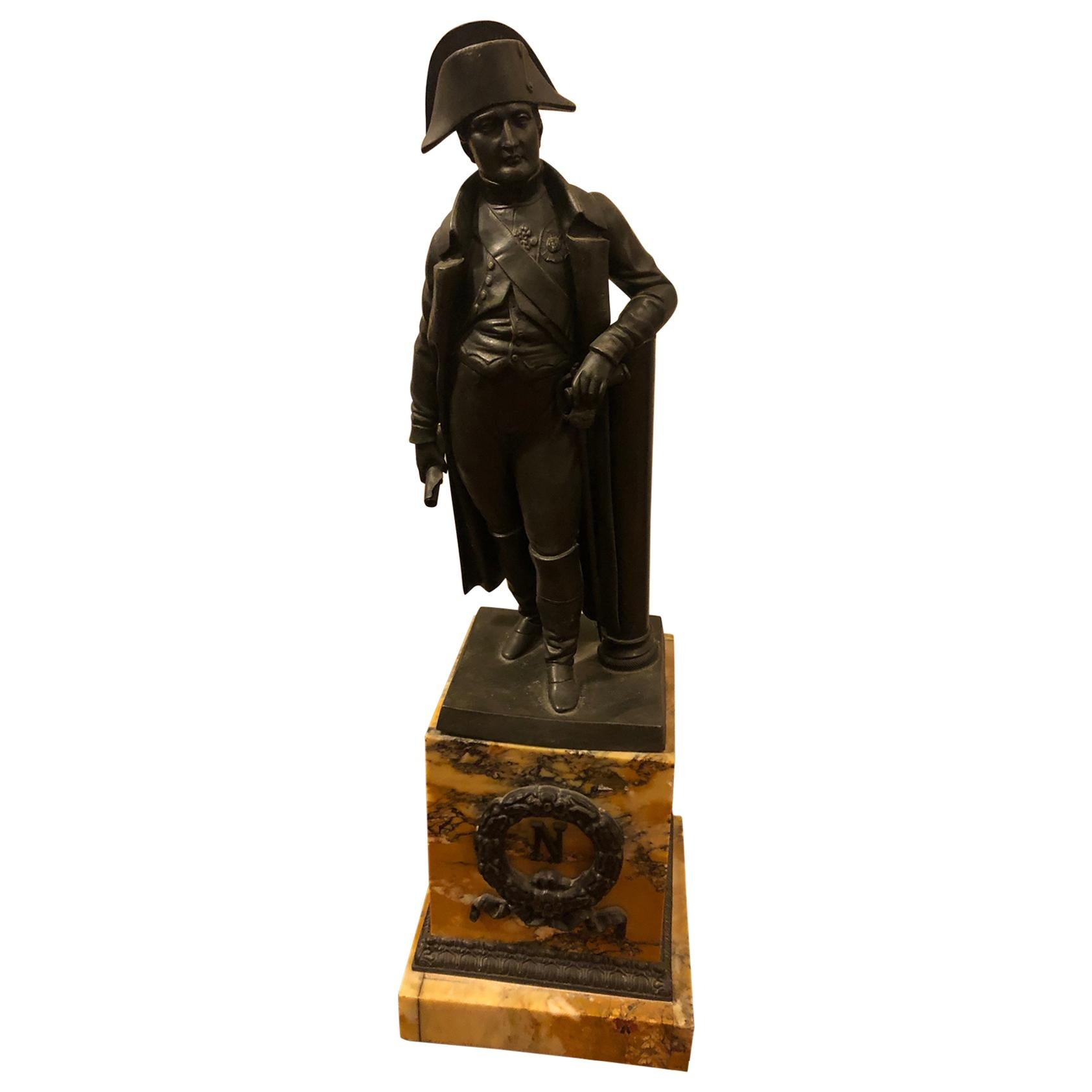 French Bronze of Napoleon on Sienna Marble Plinth