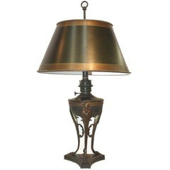 French  Bronze Oil Lamp Converted to Electricity